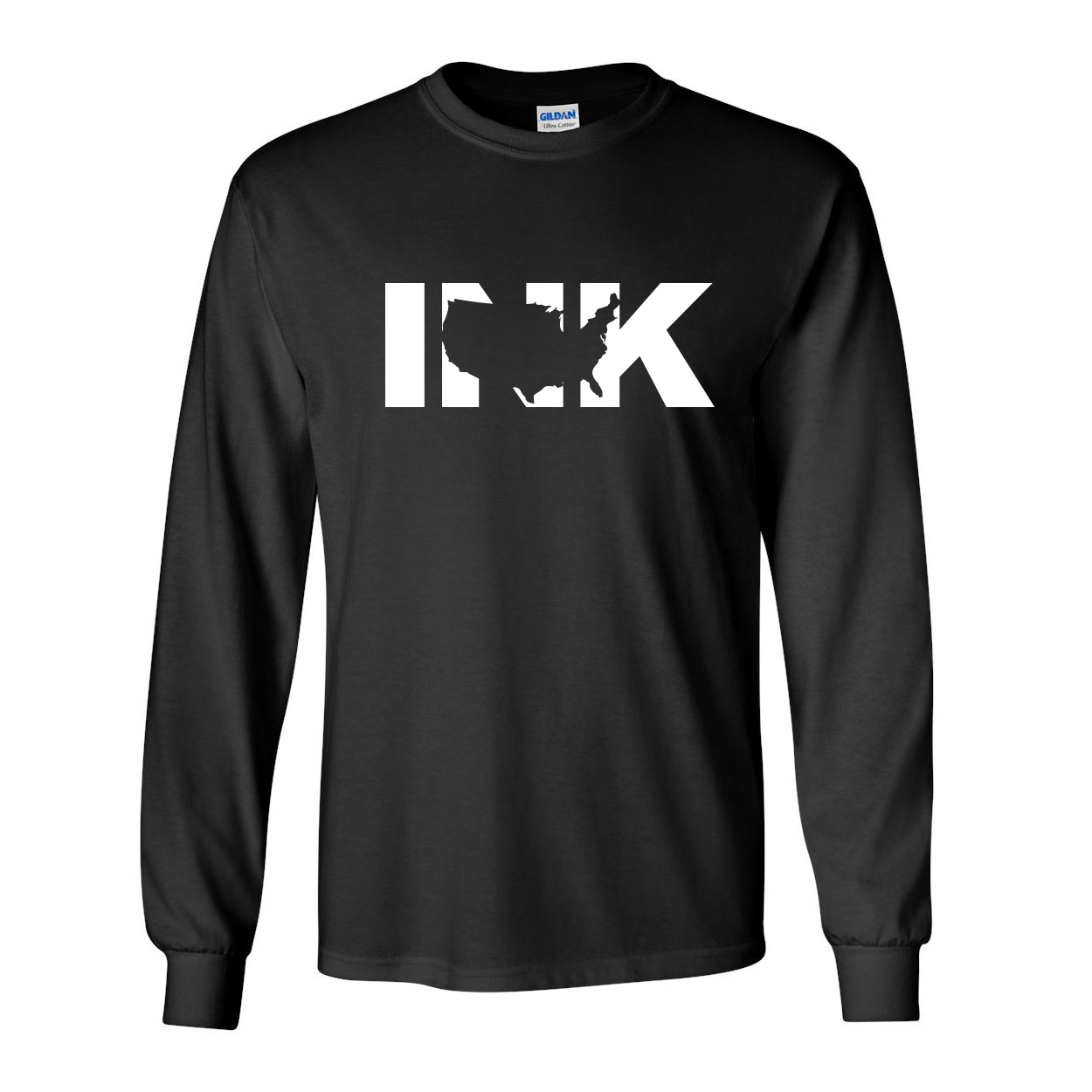 Ink United States Classic Long Sleeve T-Shirt Black (White Logo)