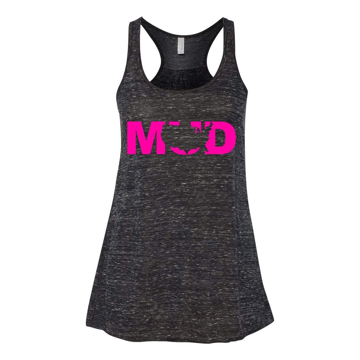 Mud United States Classic Women's Flowy Racerback Tank Top Black Marble (Pink Logo)