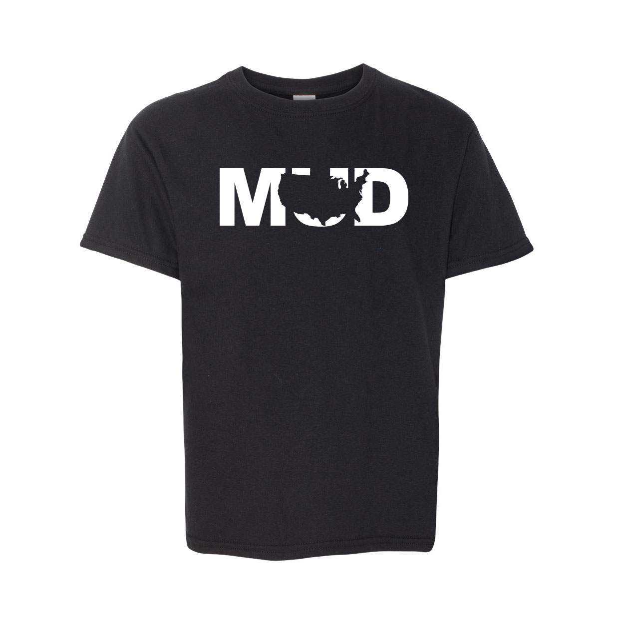 Mud United States Classic Youth T-Shirt Black (White Logo)