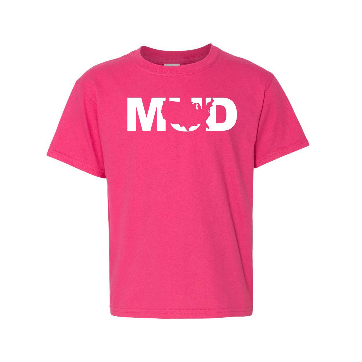 Mud United States Classic Youth T-Shirt Pink (White Logo)