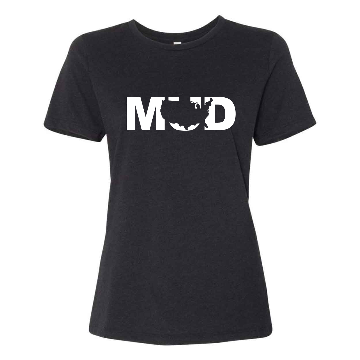 Mud United States Classic Women's Relaxed Jersey T-Shirt Black Heather (White Logo)