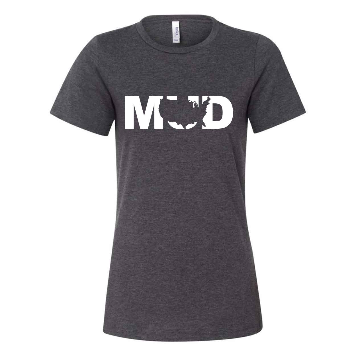 Mud United States Classic Women's Relaxed Jersey T-Shirt Dark Gray Heather (White Logo)