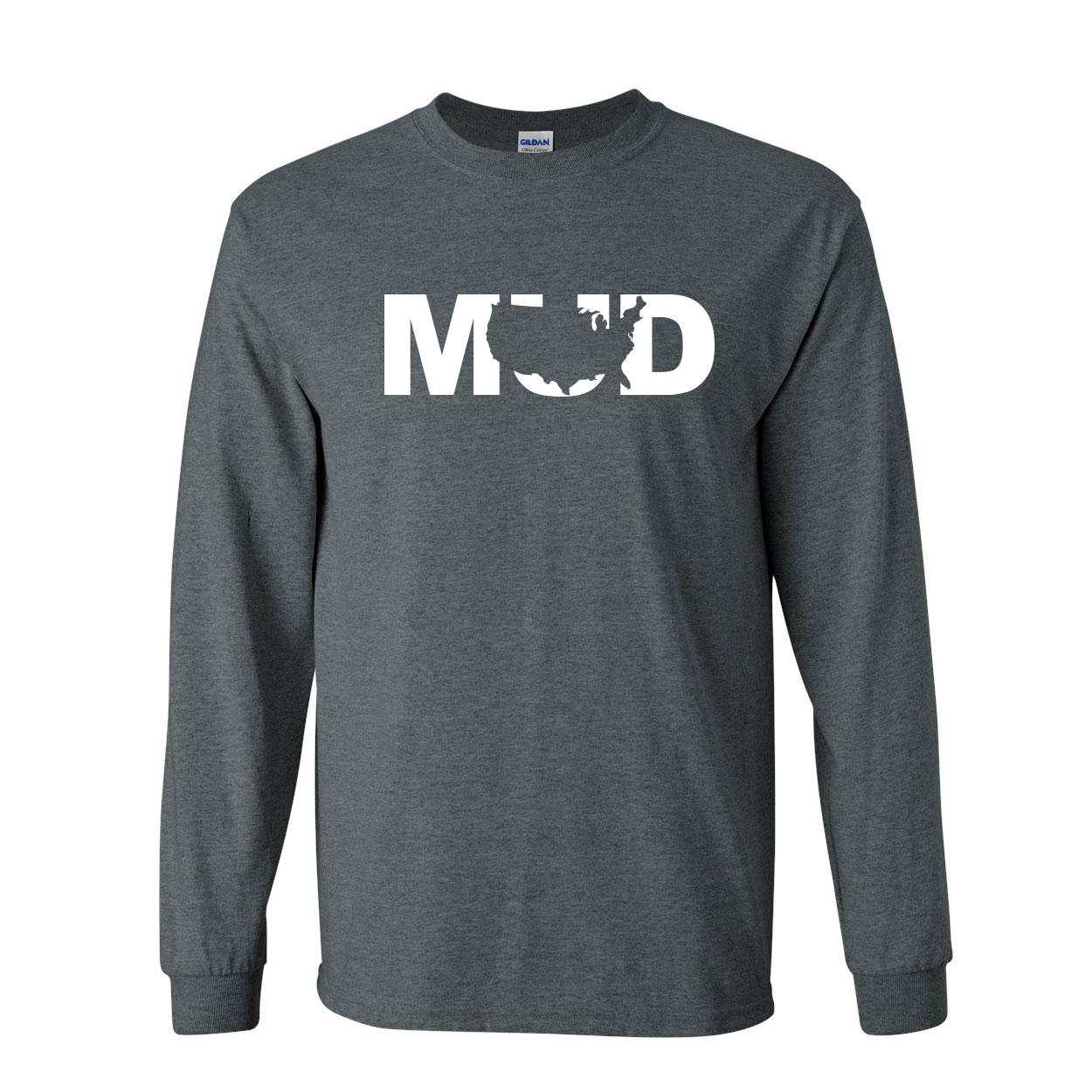 Mud United States Classic Long Sleeve T-Shirt Dark Heather (White Logo)