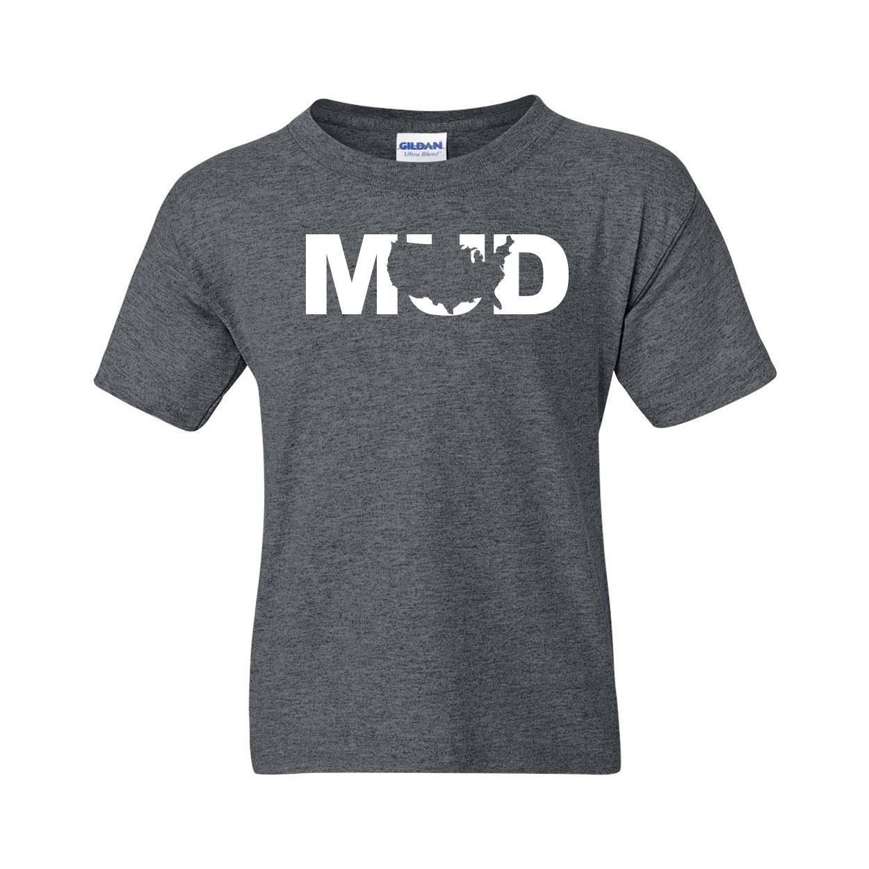 Mud United States Classic Youth T-Shirt Dark Heather Gray (White Logo)