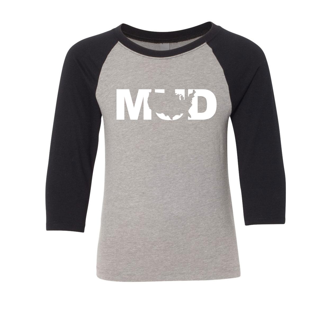 Mud United States Classic Youth Premium Raglan Shirt Gray/Black (White Logo)