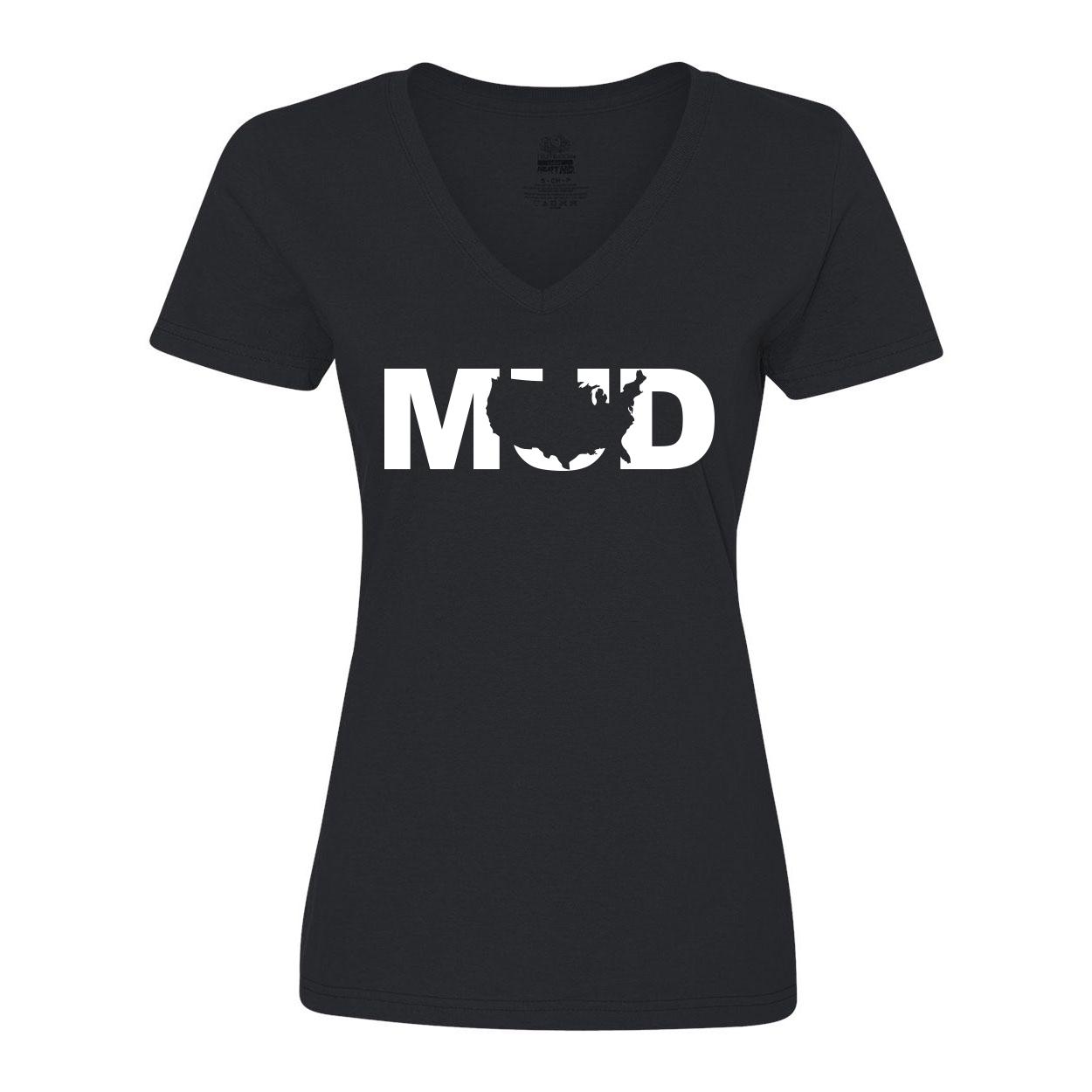 Mud United States Classic Womens V-Neck Shirt Black (White Logo)