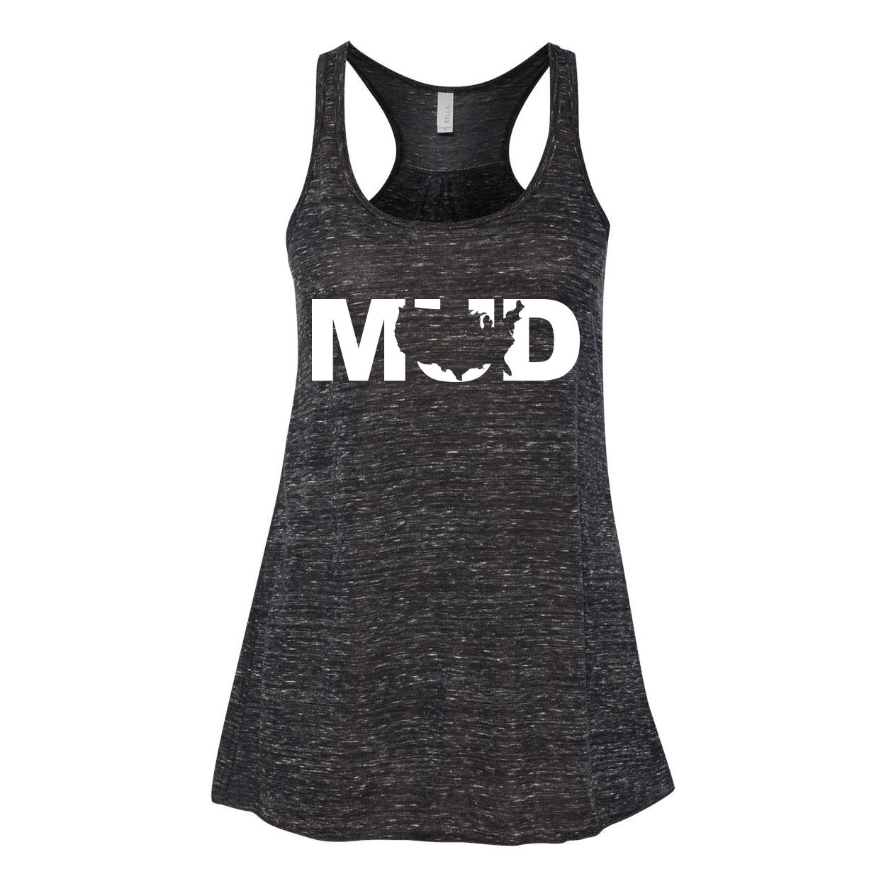 Mud United States Classic Women's Flowy Racerback Tank Top Black Marble (White Logo)