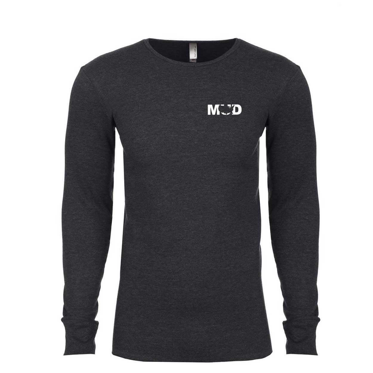 Mud United States Long Sleeve Thermal Shirt Heather Charcoal (White Logo)