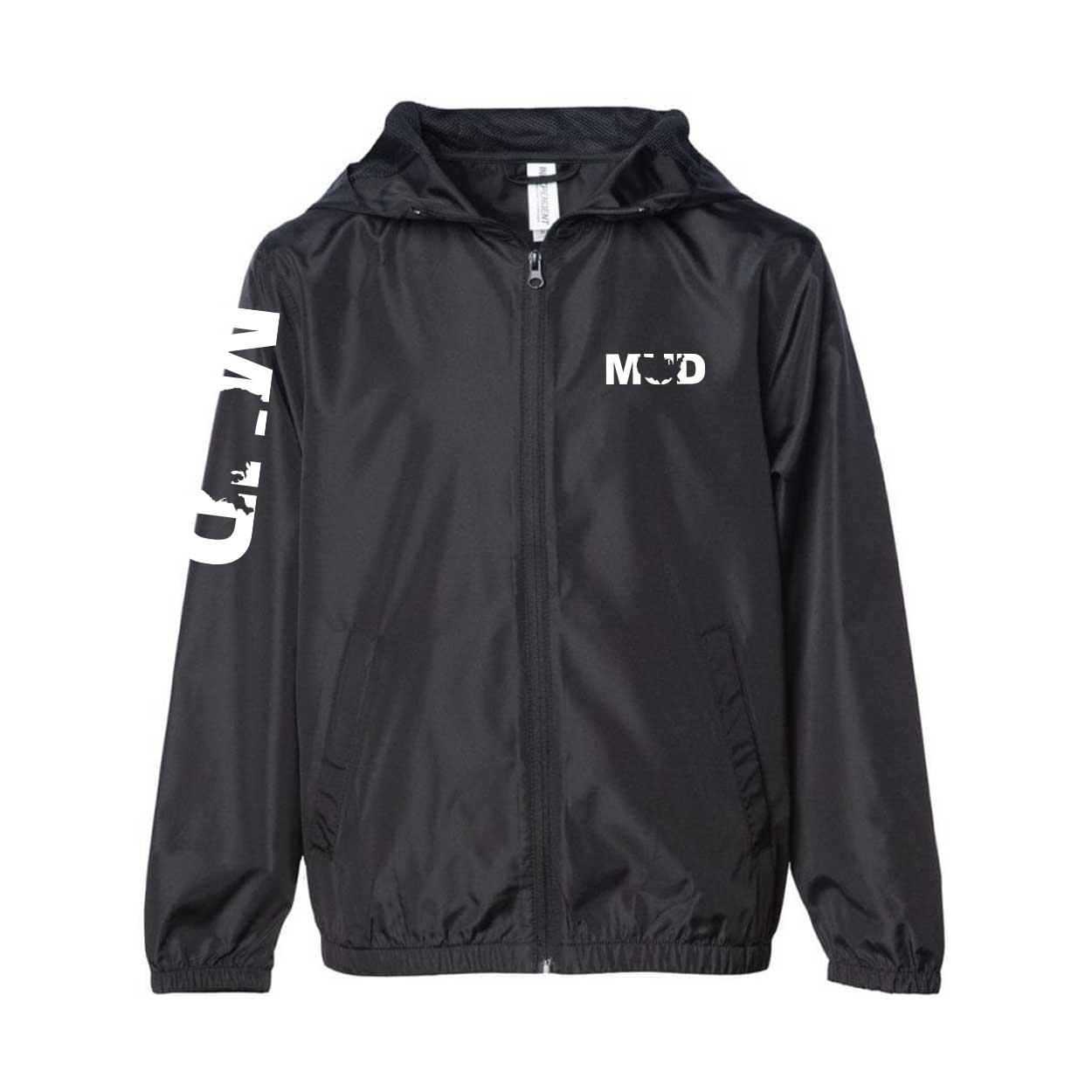 Mud United States Classic Youth Lightweight Windbreaker Black (White Logo)