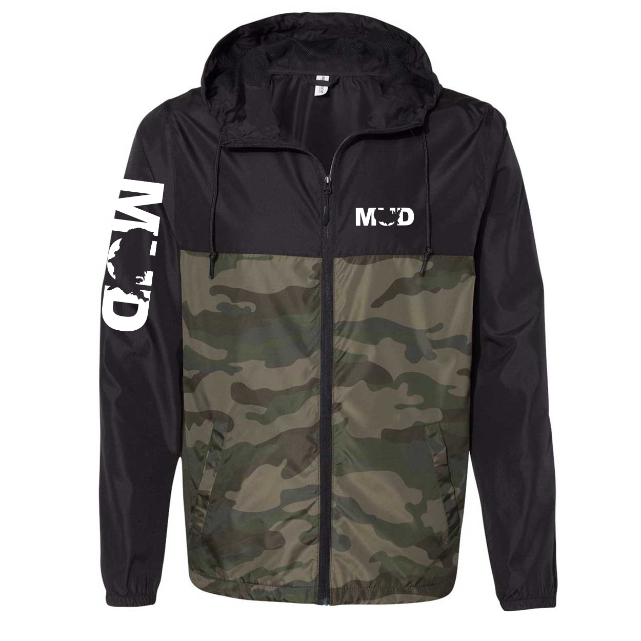 Mud United States Classic Lightweight Windbreaker Black/Forest Camo (White Logo)