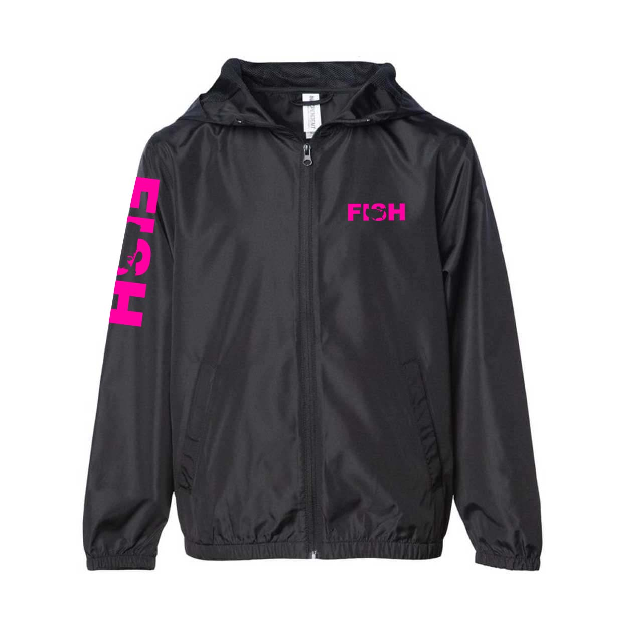 Fish United States Classic Youth Lightweight Windbreaker Black (Pink Logo)