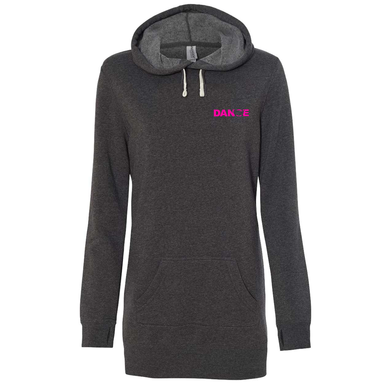 Dance United States Night Out Womens Pullover Hooded Sweatshirt Dress Carbon (Pink Logo)