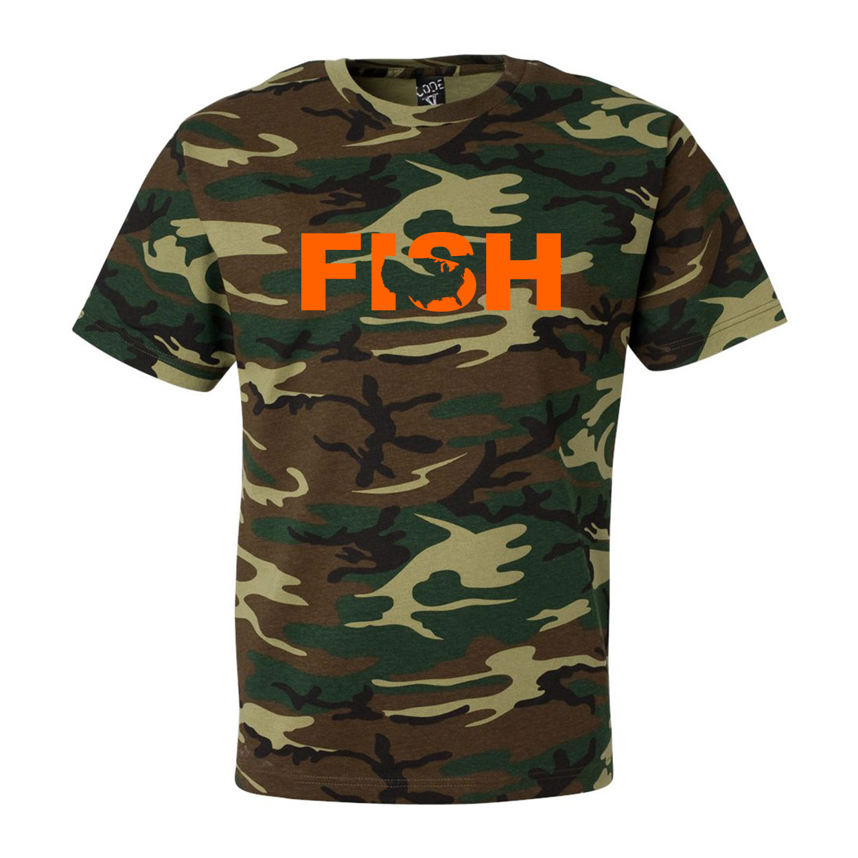 Fish United States Classic Premium T-Shirt Camo (Orange Logo)