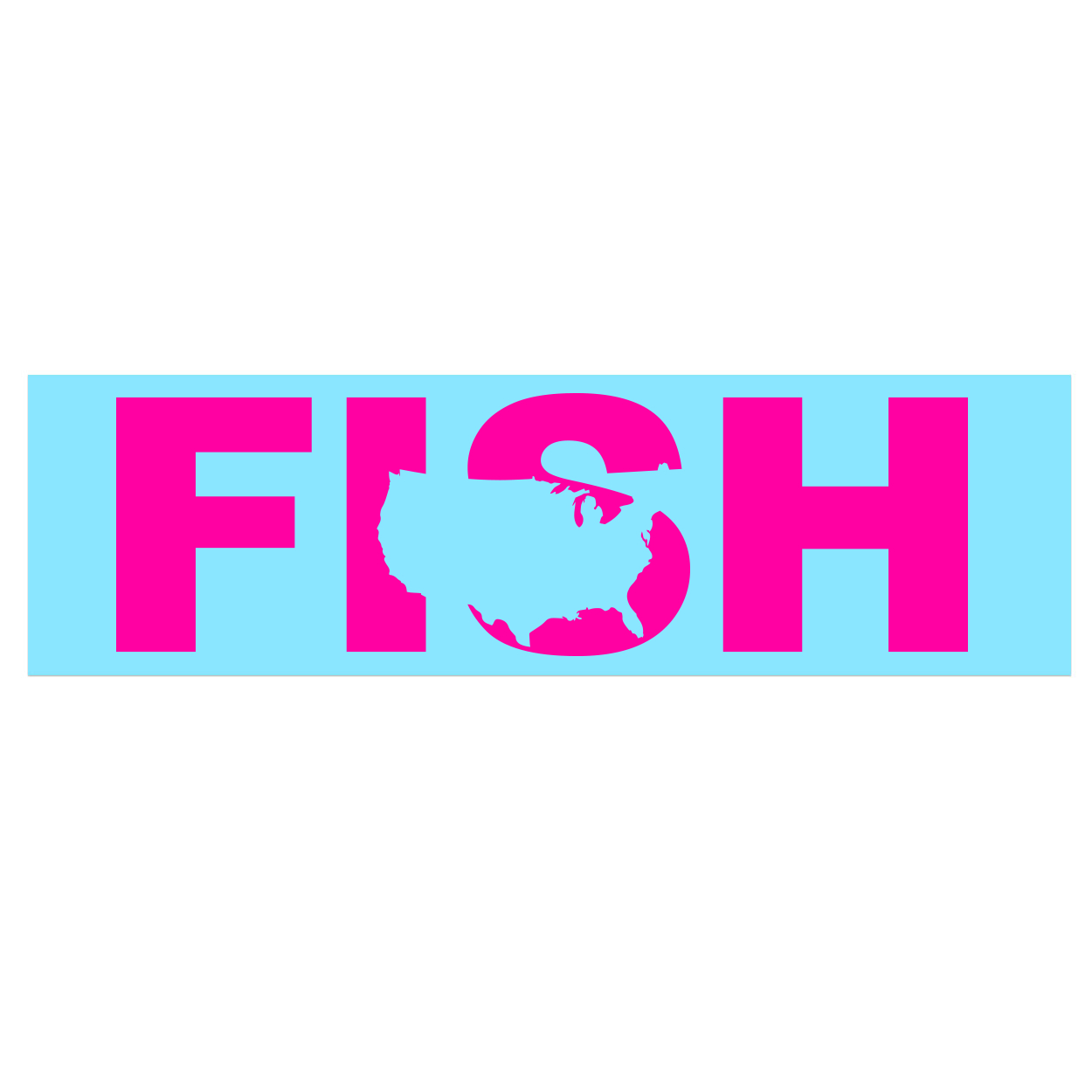 Fish United States Classic Decal (Pink Logo)