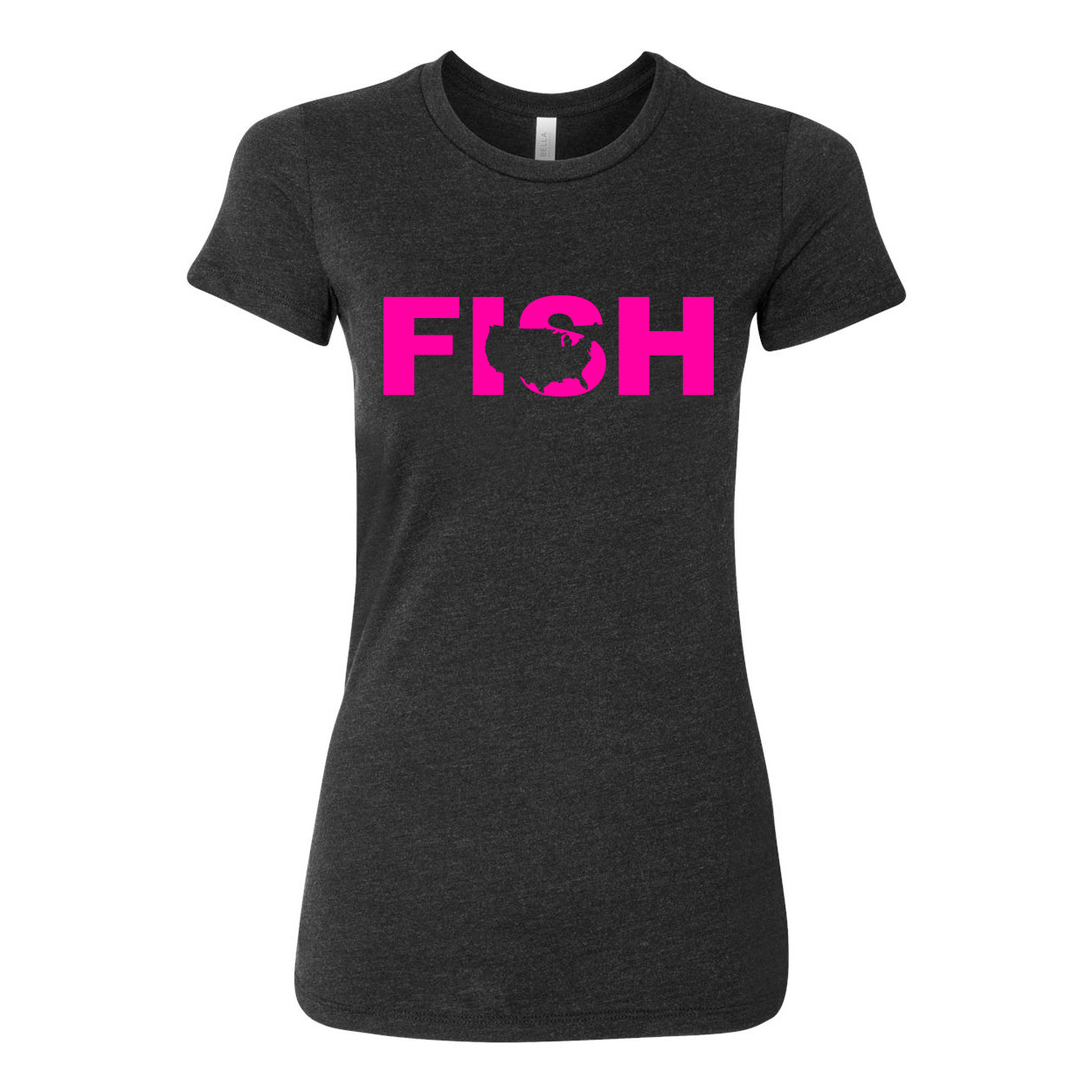 Fish United States Women's Classic Fitted Tri-Blend T-Shirt Dark Heather Gray (Pink Logo)