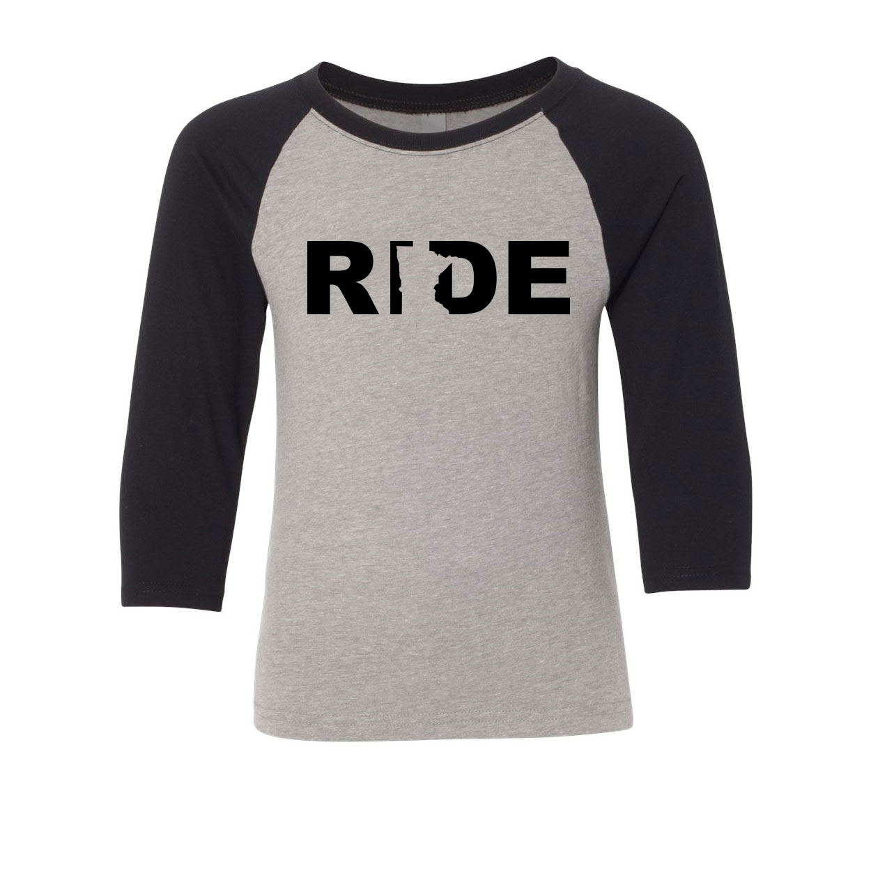 Ride Minnesota Classic Youth Premium Raglan Shirt Gray (Black Logo)