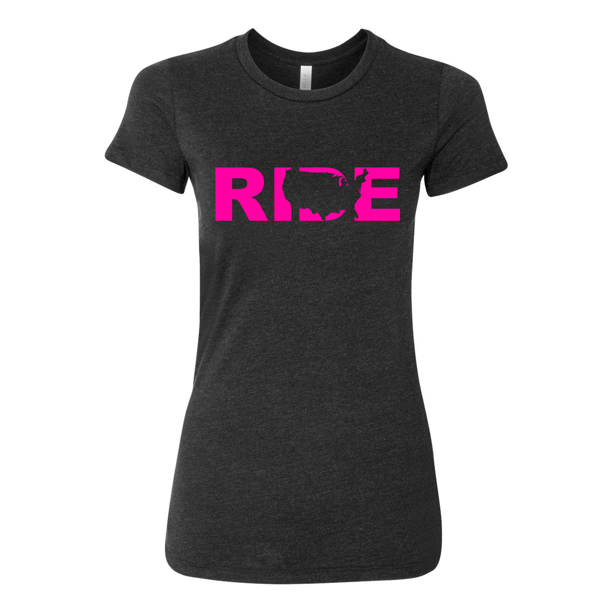 Ride United States Women's Classic Fitted Tri-Blend T-Shirt Dark Heather Gray (Pink Logo)