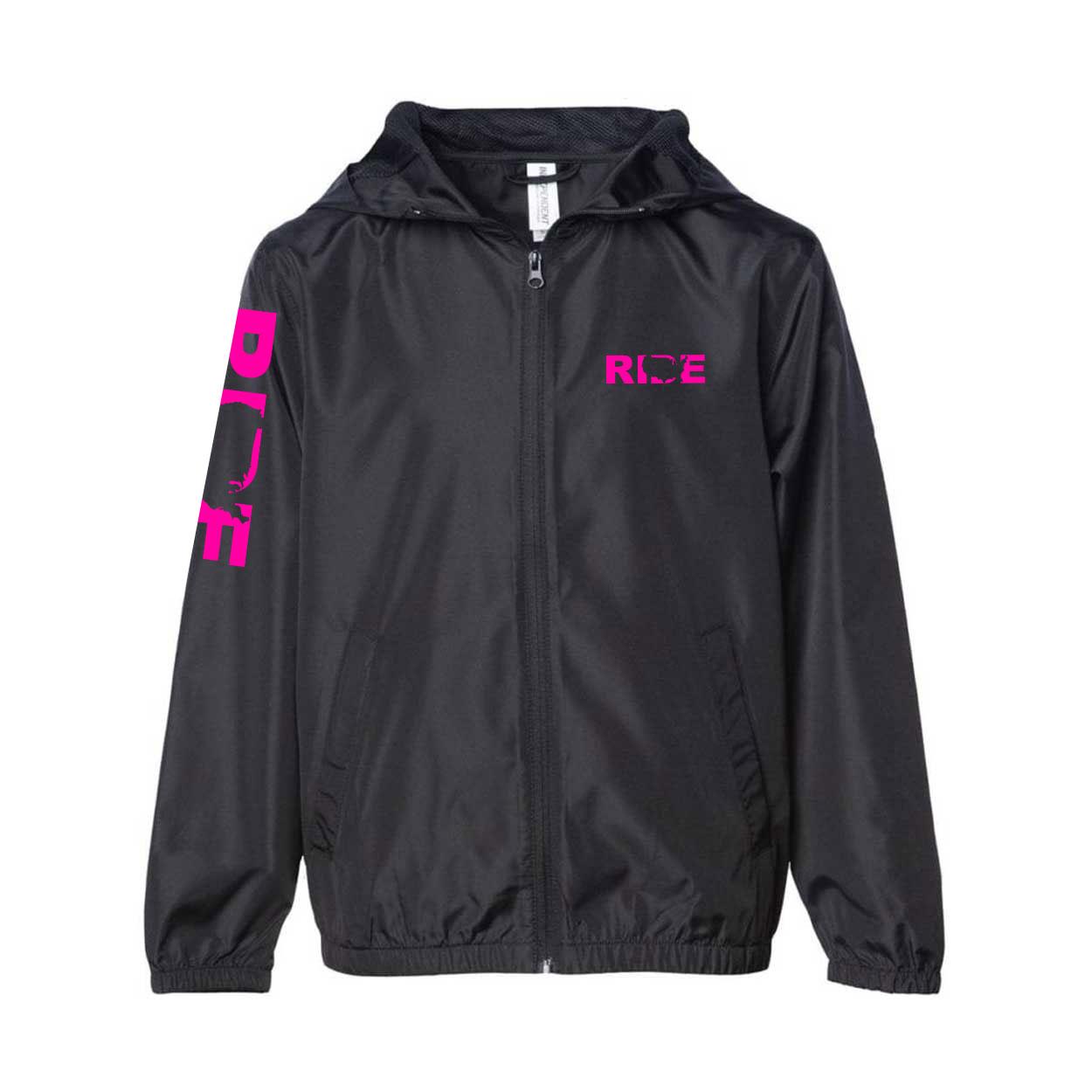 Ride United States Classic Youth Lightweight Windbreaker Black (Pink Logo)