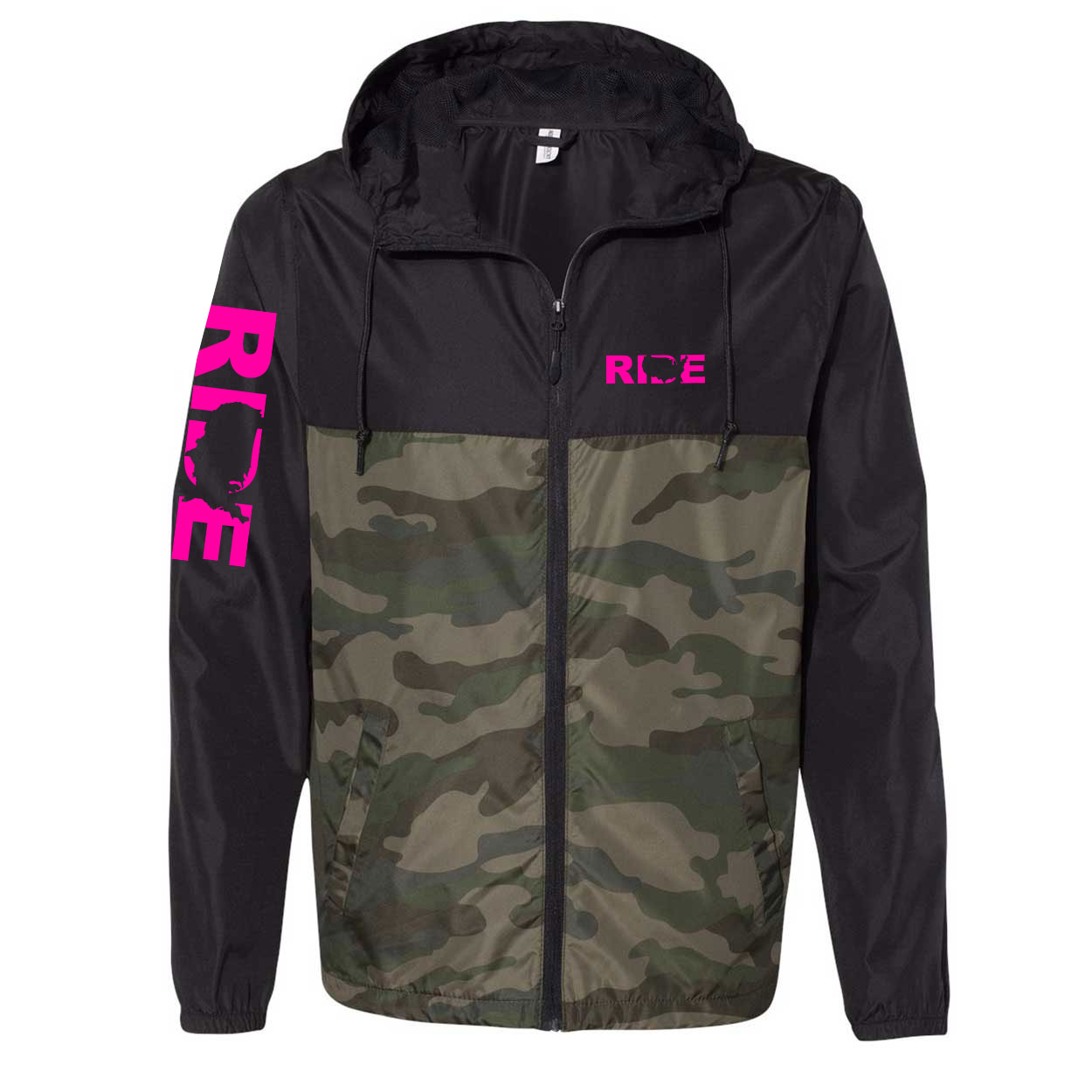 Ride United States Classic Lightweight Windbreaker Black/Forest Camo (Pink Logo)