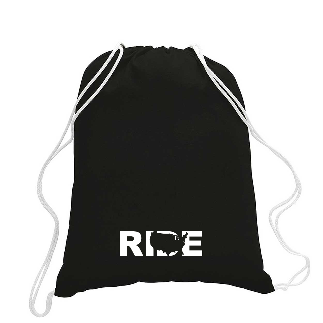 Ride United States Classic Drawstring Sport Pack Bag/Cinch Sack Black (White Logo)