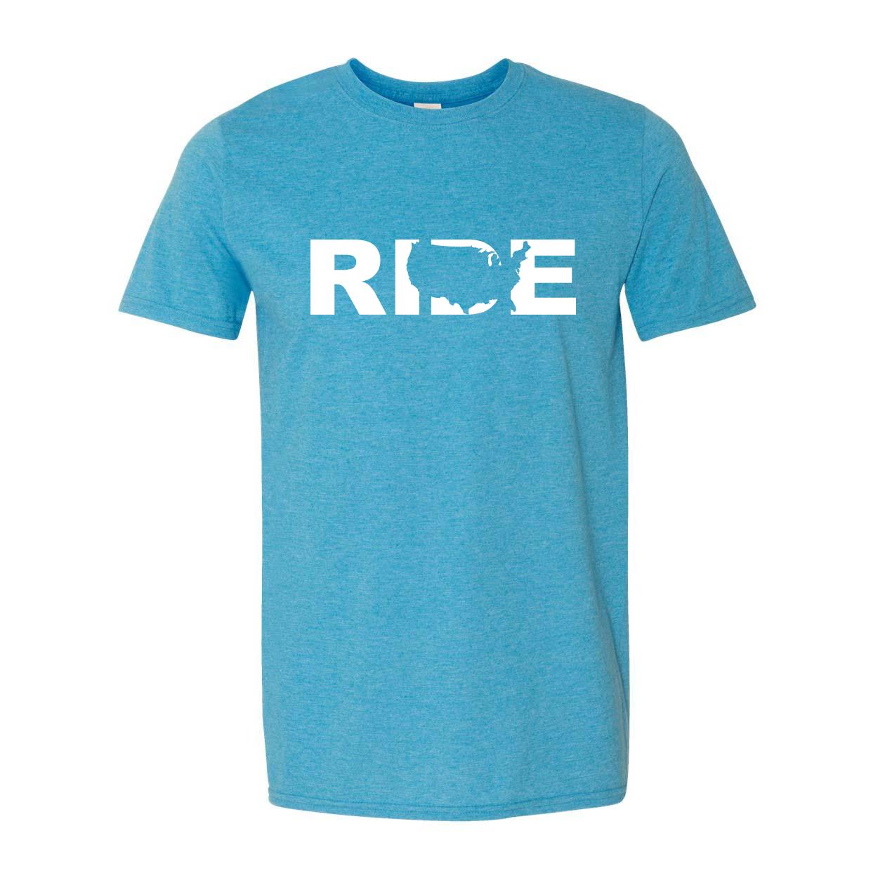 Ride United States Classic T-Shirt Heather Sapphire Blue (White Logo)