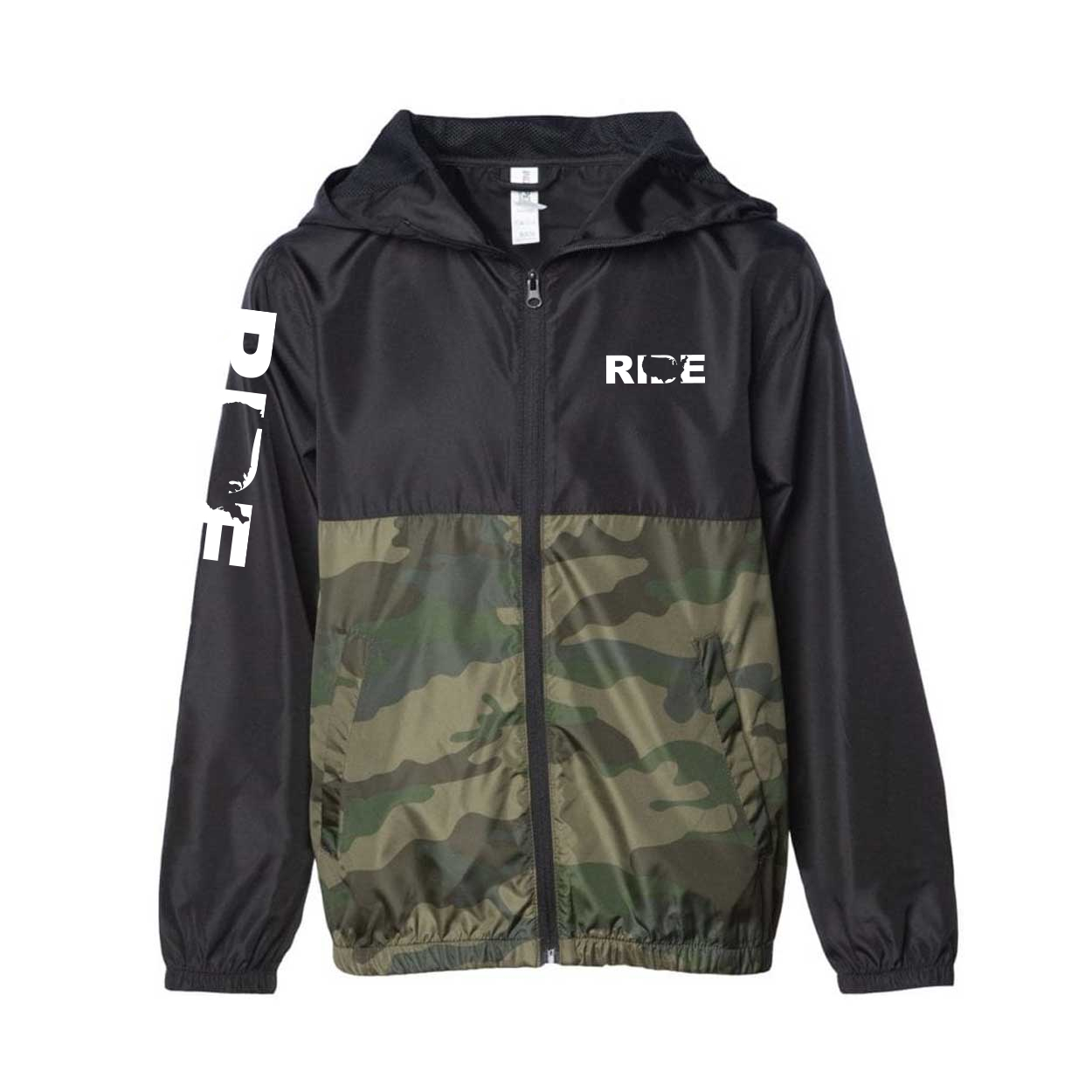 Ride United States Classic Youth Lightweight Windbreaker Black/Forest Camo (White Logo)