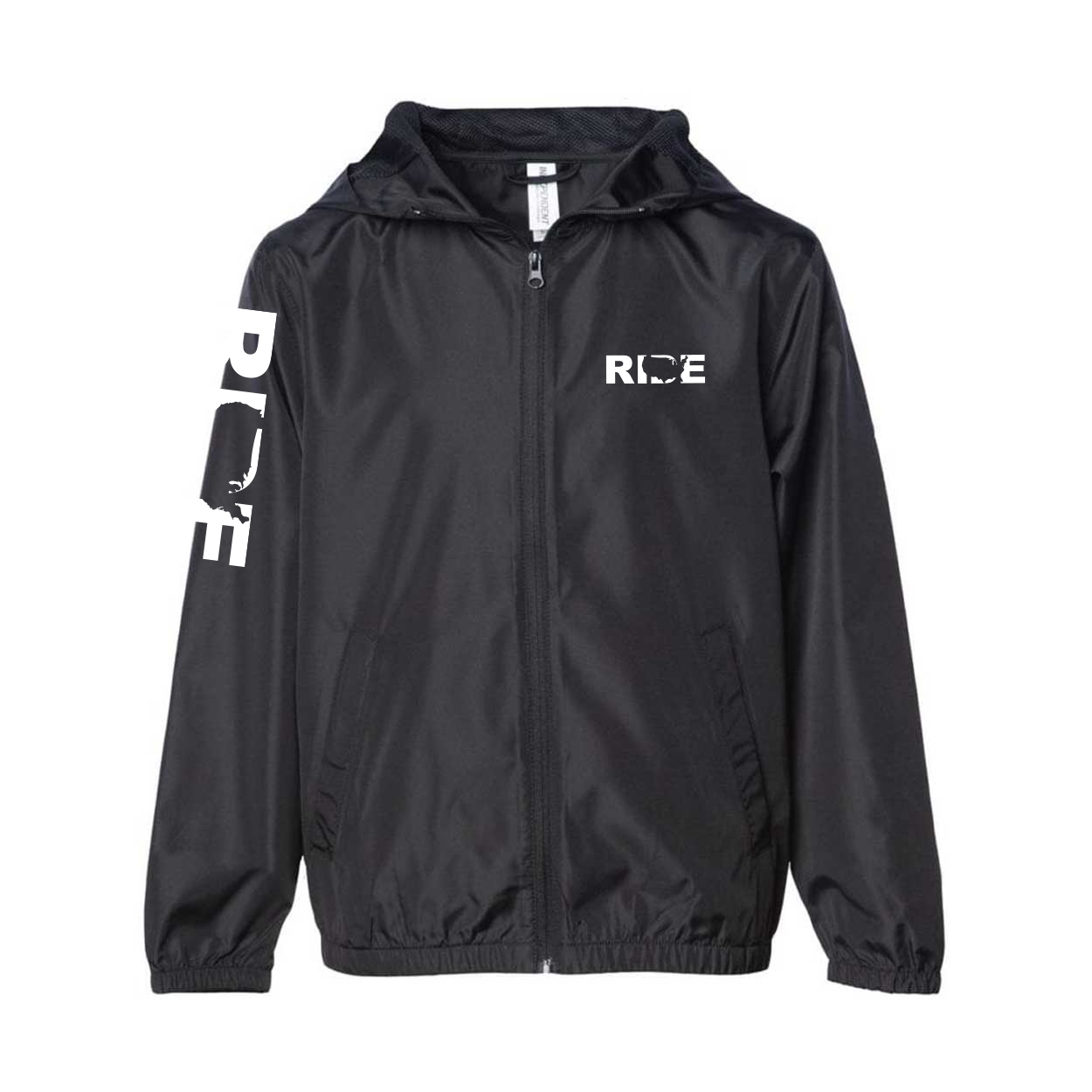 Ride United States Classic Youth Lightweight Windbreaker Black (White Logo)