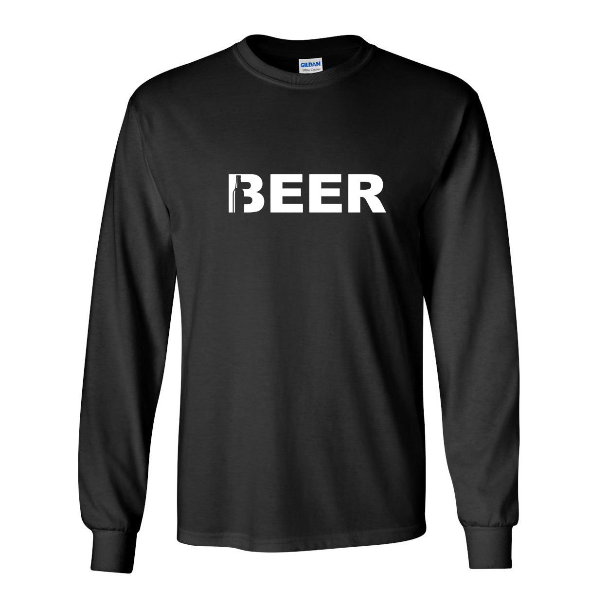 Beer Bottle Logo Classic Long Sleeve T-Shirt Black (White Logo)