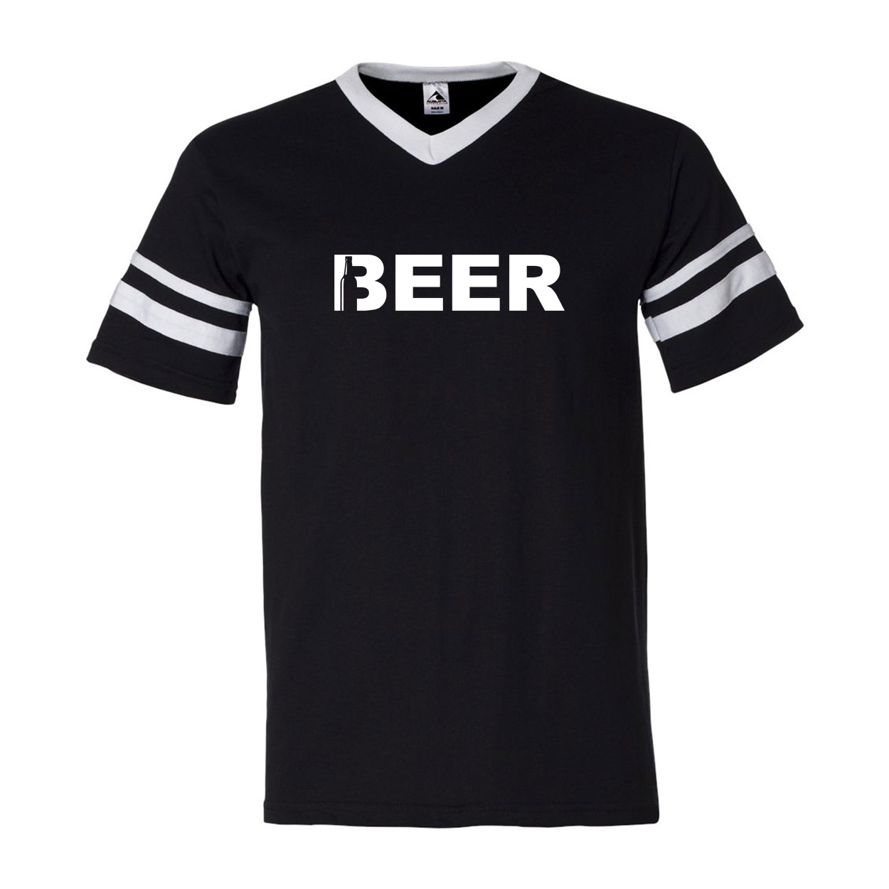 Beer Bottle Logo Classic Premium Striped Jersey T-Shirt Black/White (White Logo)