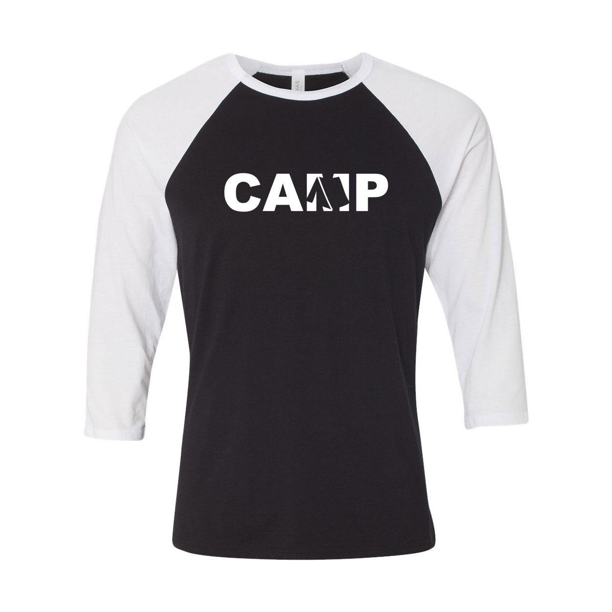 Camp Tent Logo Classic Raglan Shirt Black/White (White Logo)