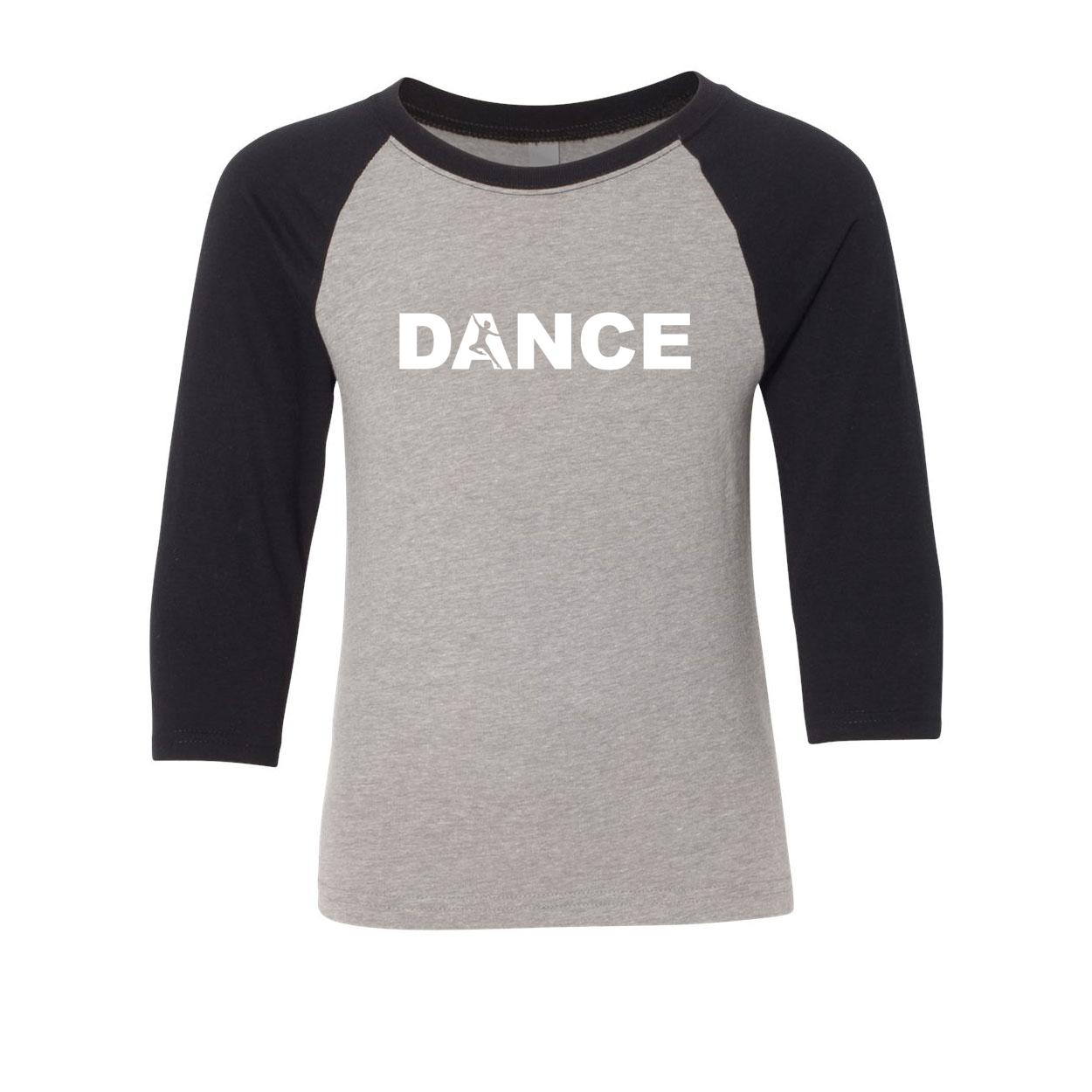 Dance Silhouette Logo Classic Youth Premium Raglan Shirt Gray/Black (White Logo)