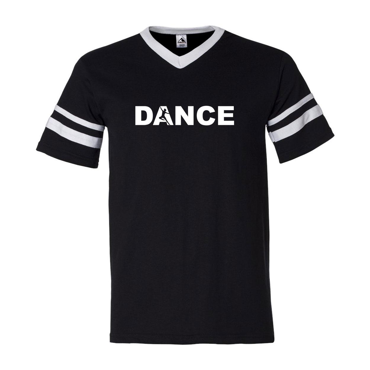 Dance Silhouette Logo Classic Premium Striped Jersey T-Shirt Black/White (White Logo)