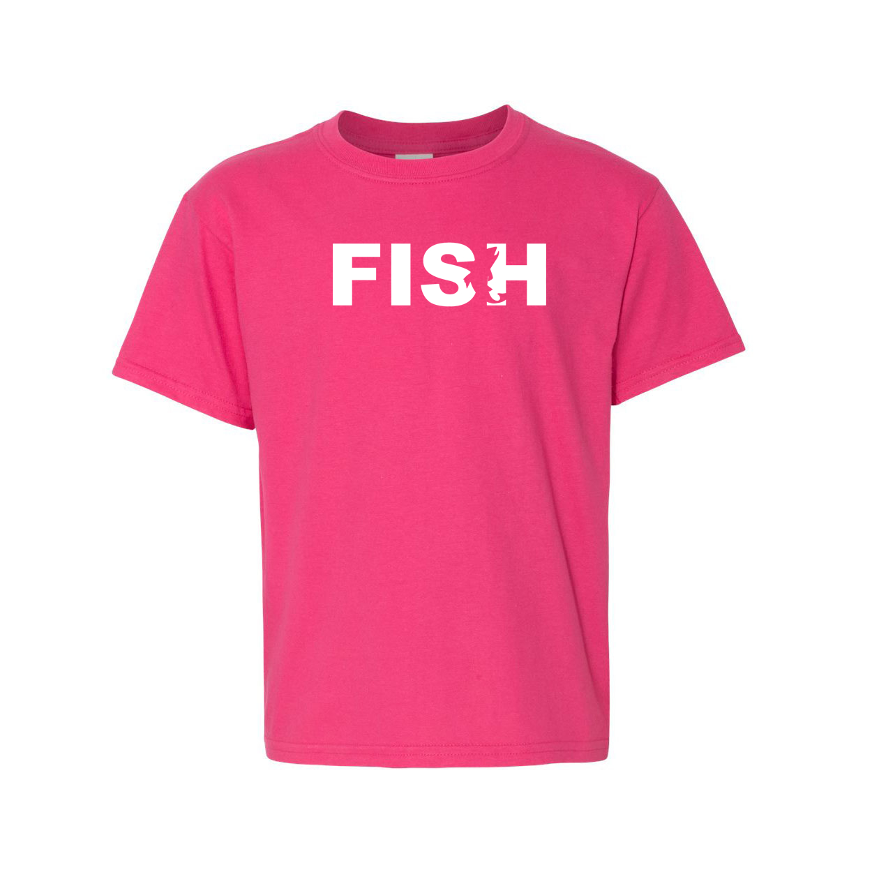 Fish Catch Logo Classic Youth T-Shirt Pink (White Logo)