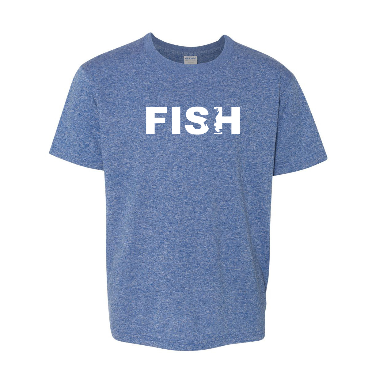 Fish Catch Logo Classic Youth T-Shirt Blue (White Logo)