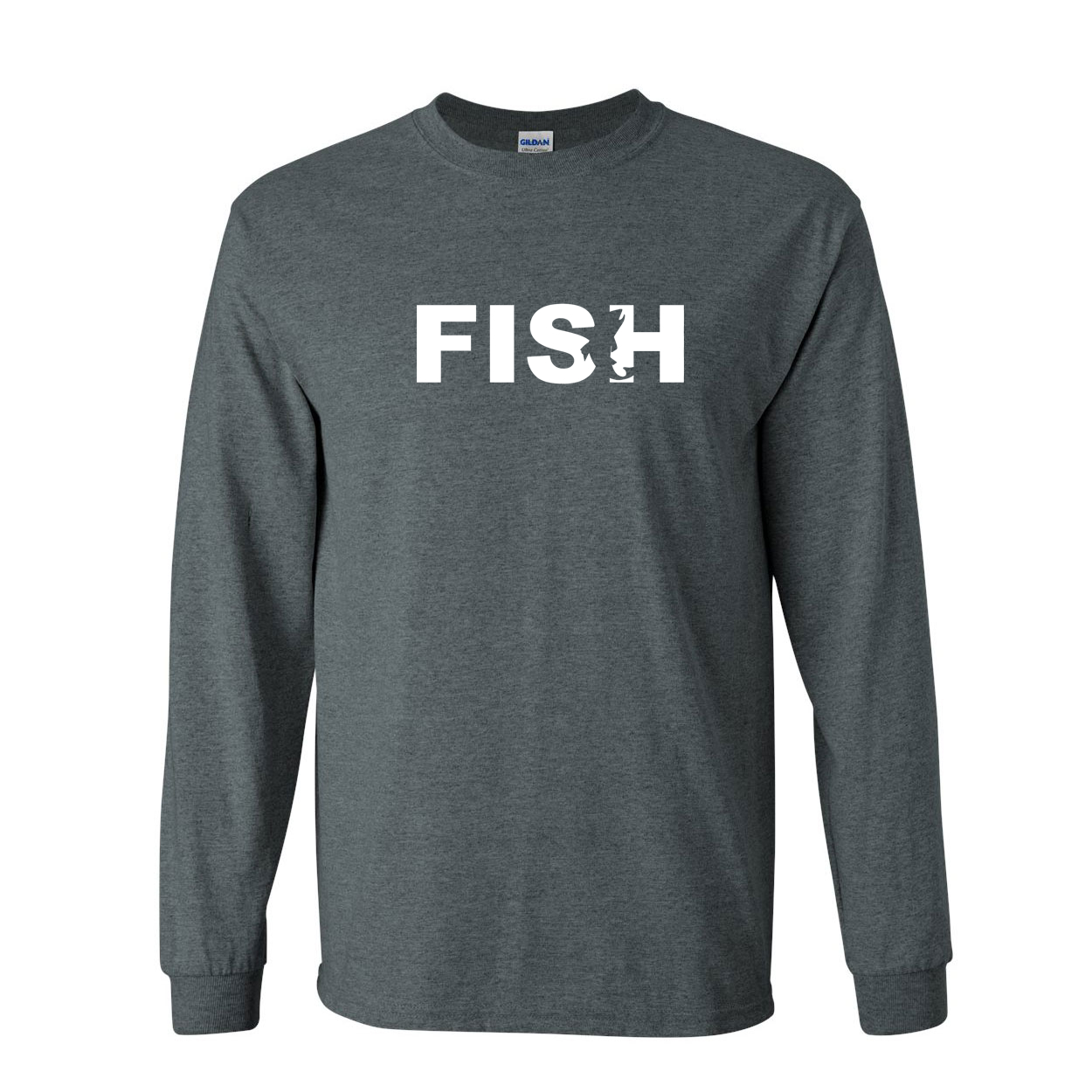 Fish Catch Logo Classic Long Sleeve T-Shirt Dark Heather (White Logo)
