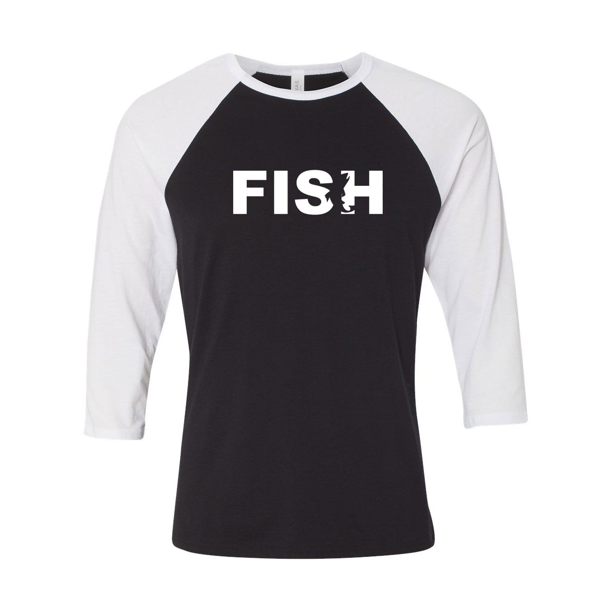 Fish Catch Logo Classic Raglan Shirt Black/White (White Logo)