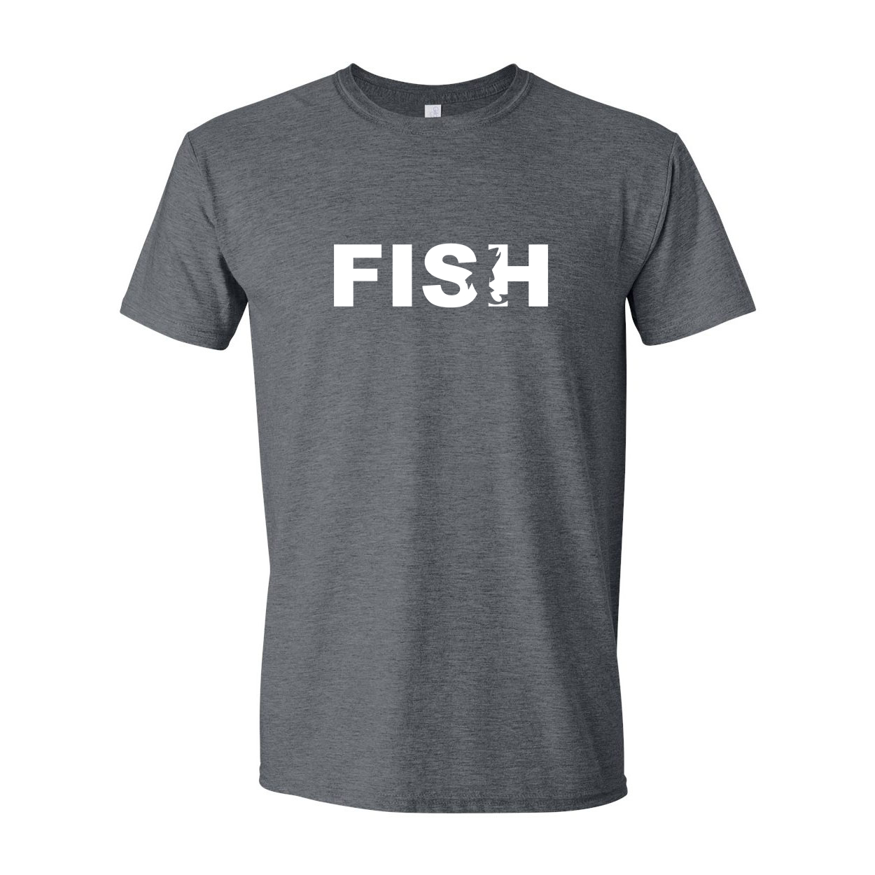 Fish Catch Logo Classic T-Shirt Dark Heather Gray (White Logo)