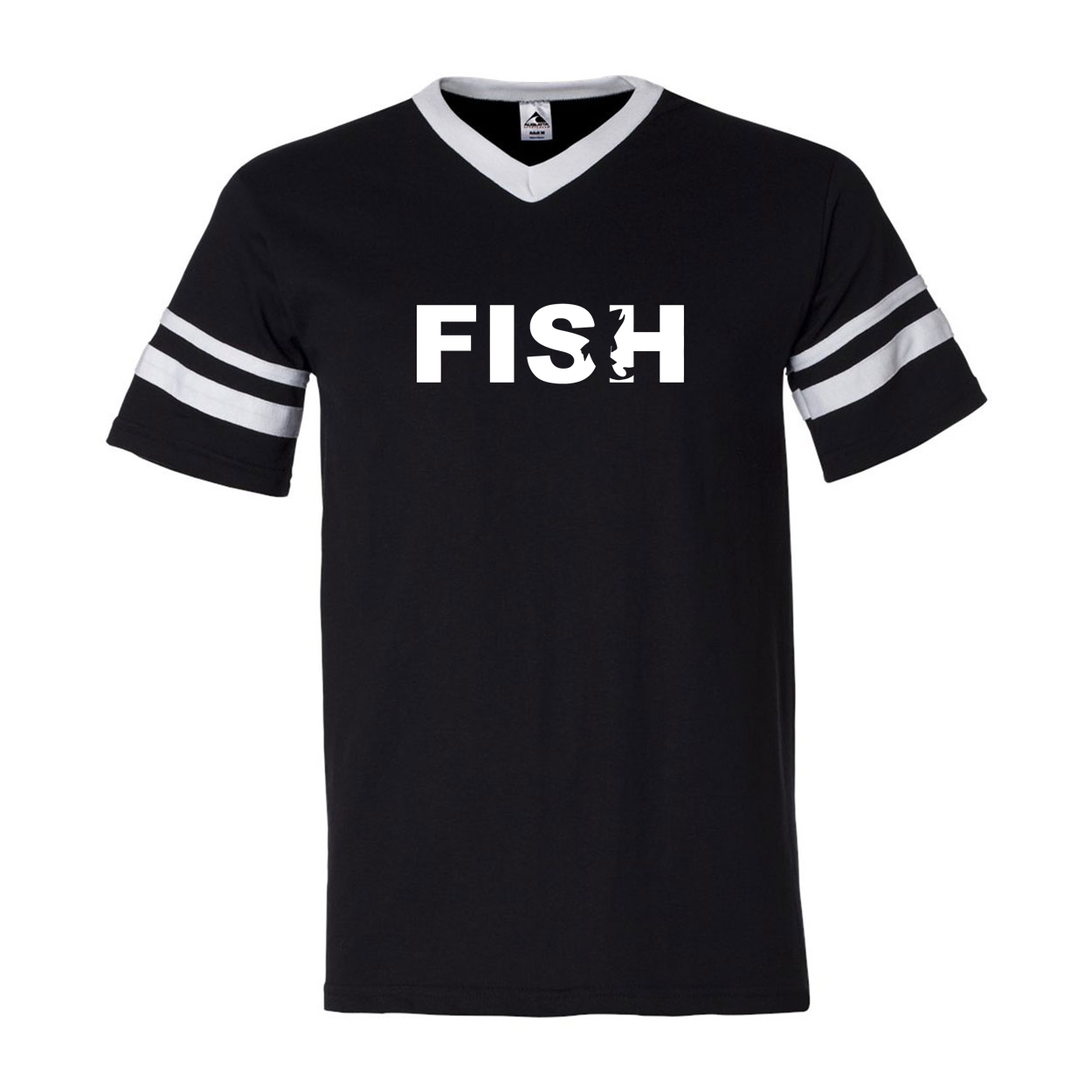 Fish Catch Logo Classic Premium Striped Jersey T-Shirt Black/White (White Logo)
