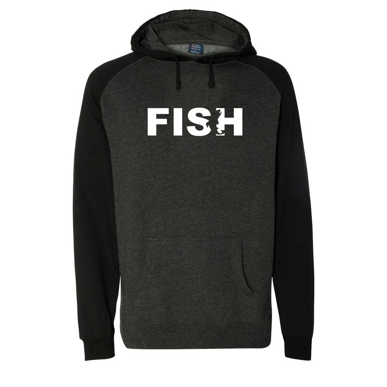 Fish Catch Logo Classic Raglan Hooded Pullover Sweatshirt Charcoal/Heather Black (White Logo)