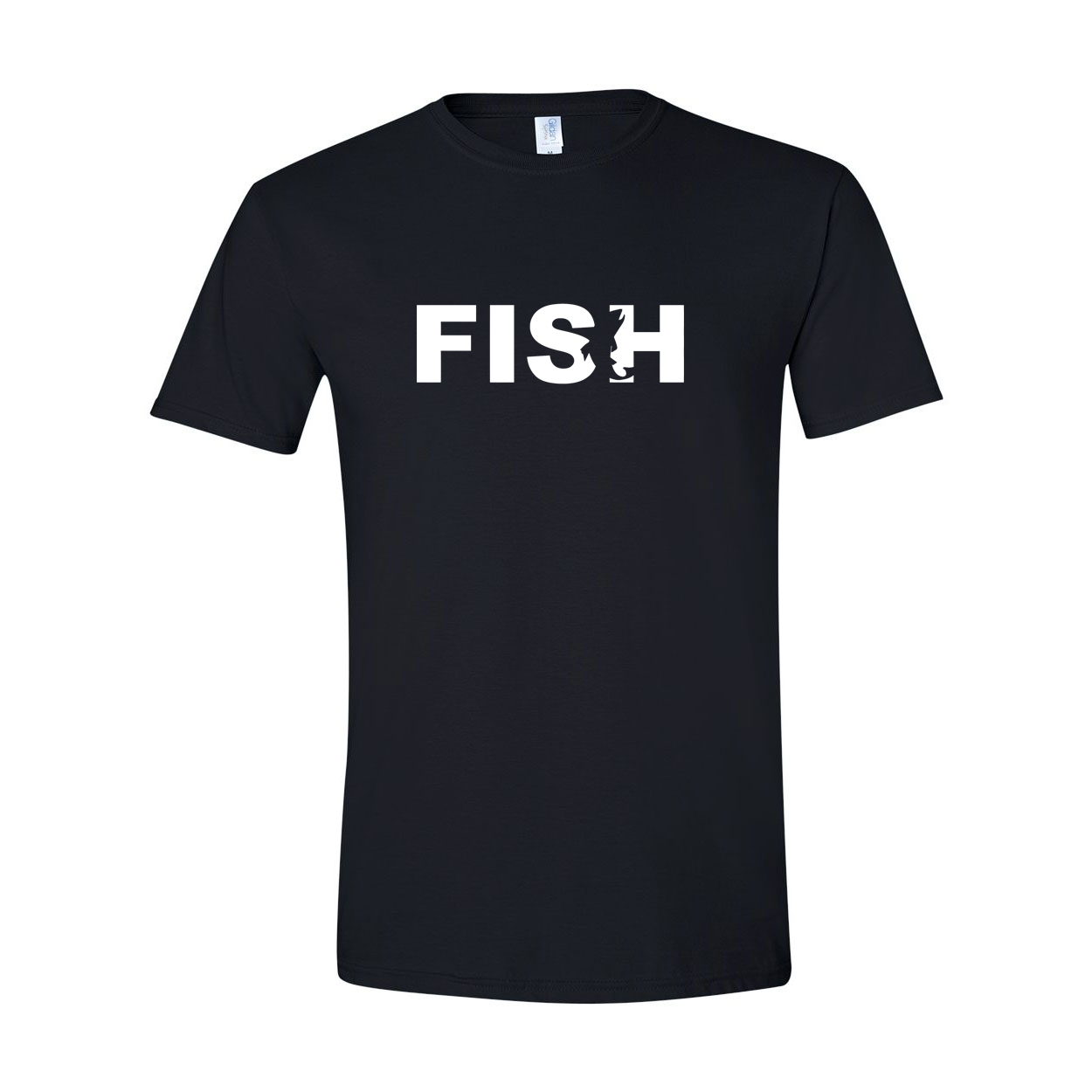 Fish Catch Logo Classic T-Shirt Black (White Logo)