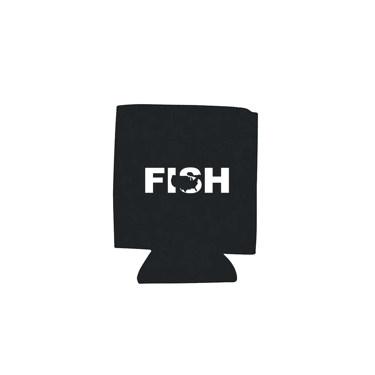Fish United States Koozie Black (White Logo)