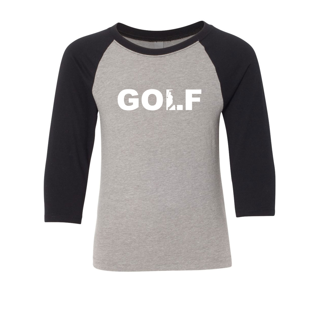 Golf Swing Logo Classic Youth Premium Raglan Shirt Gray/Black (White Logo)