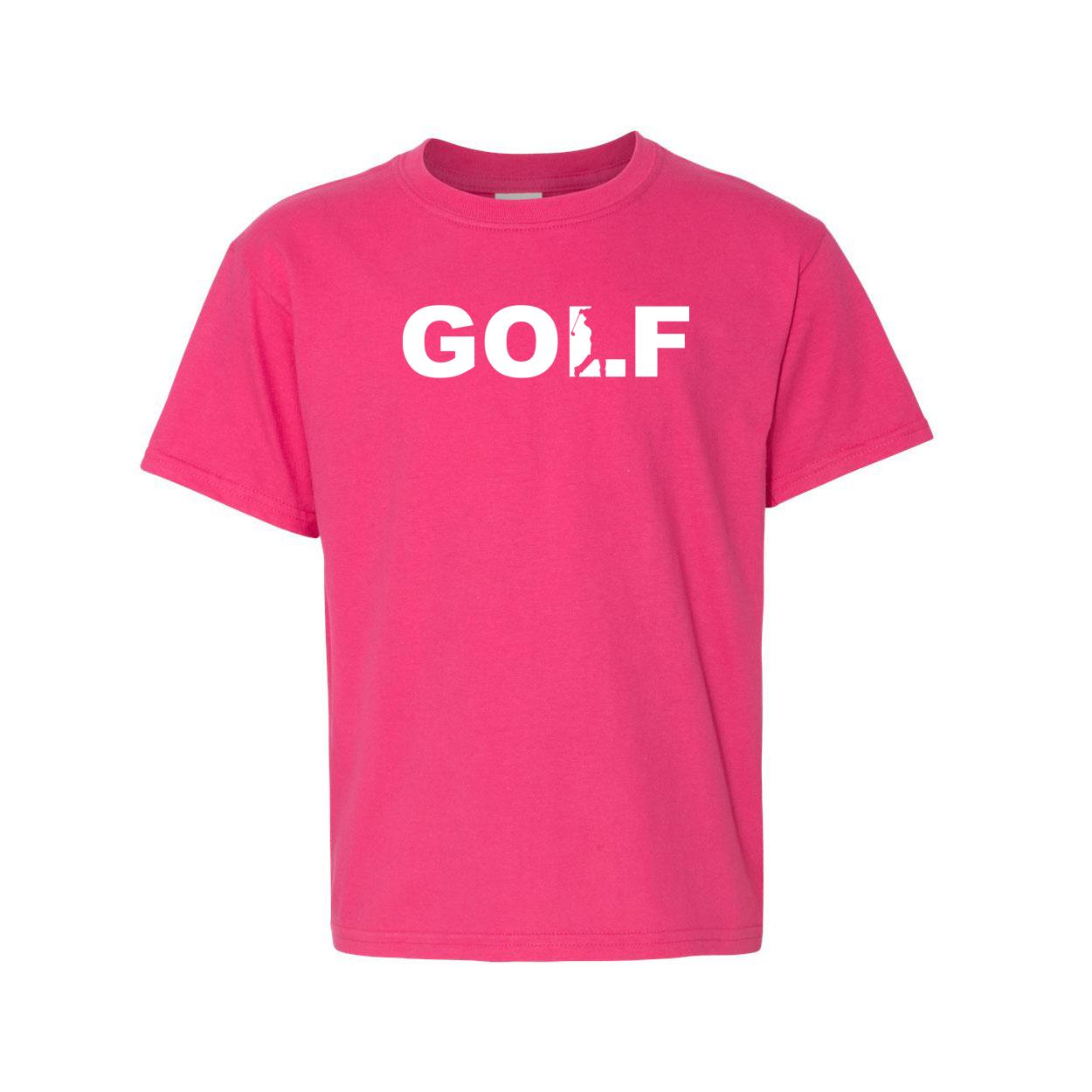 Golf Swing Logo Classic Youth T-Shirt Pink (White Logo)