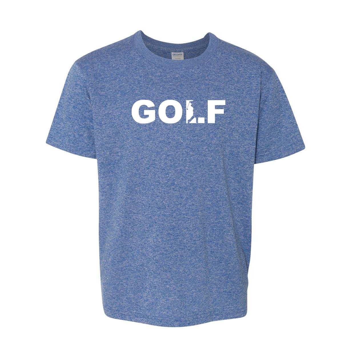Golf Swing Logo Classic Youth T-Shirt Blue (White Logo)