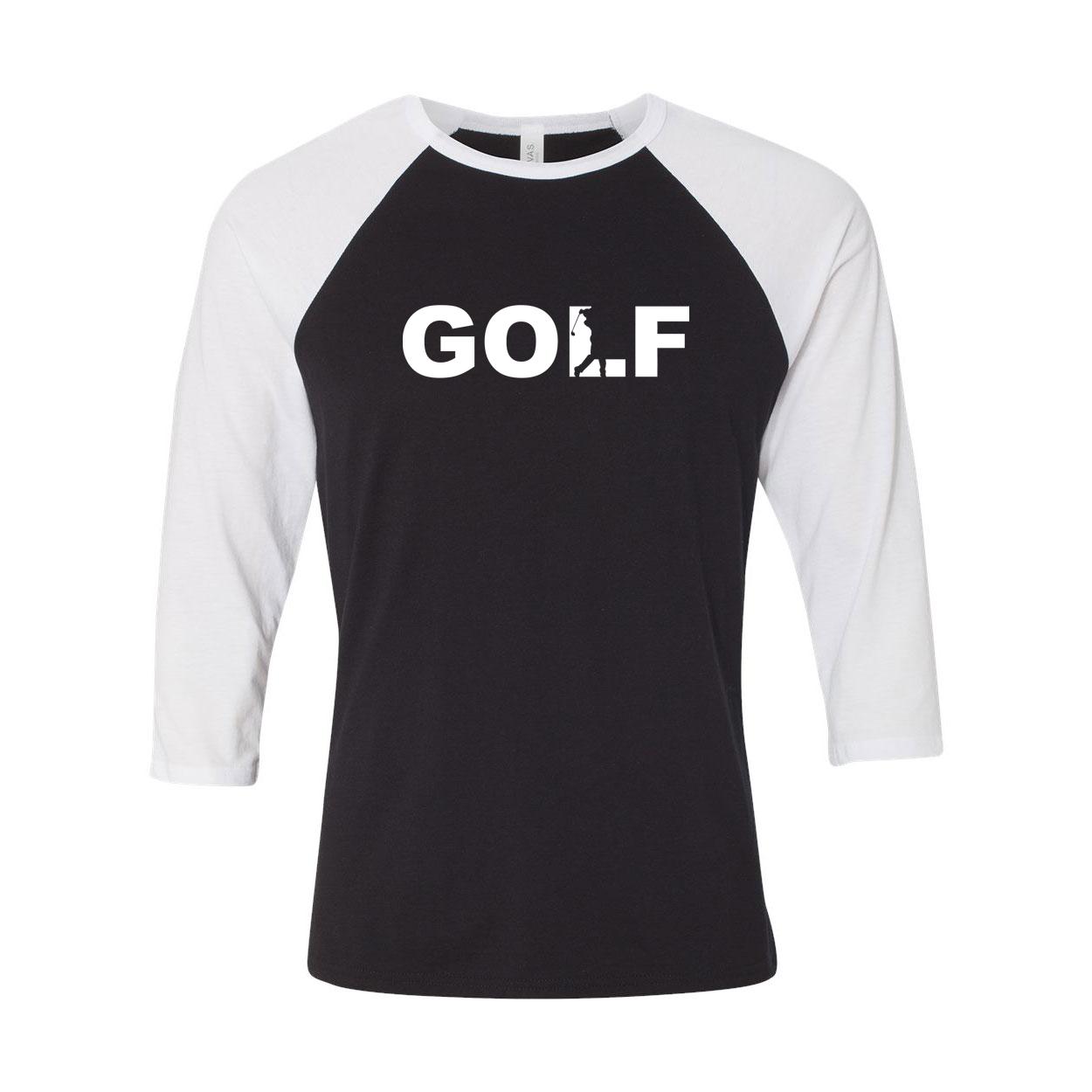 Golf Swing Logo Classic Raglan Shirt Black/White (White Logo)