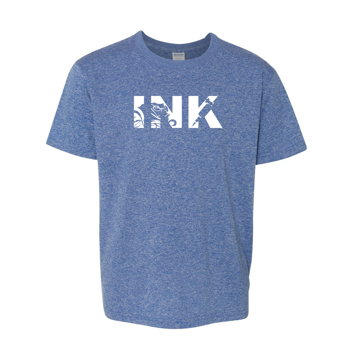 Ink Tattoo Logo Classic Youth T-Shirt Blue (White Logo)