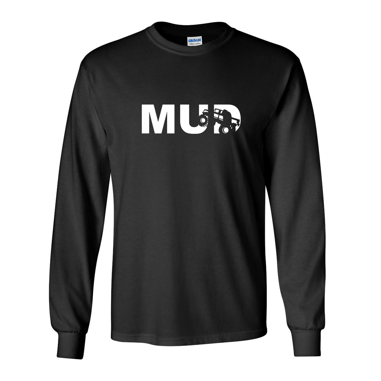 Mud Truck Logo Classic Long Sleeve T-Shirt Black (White Logo)