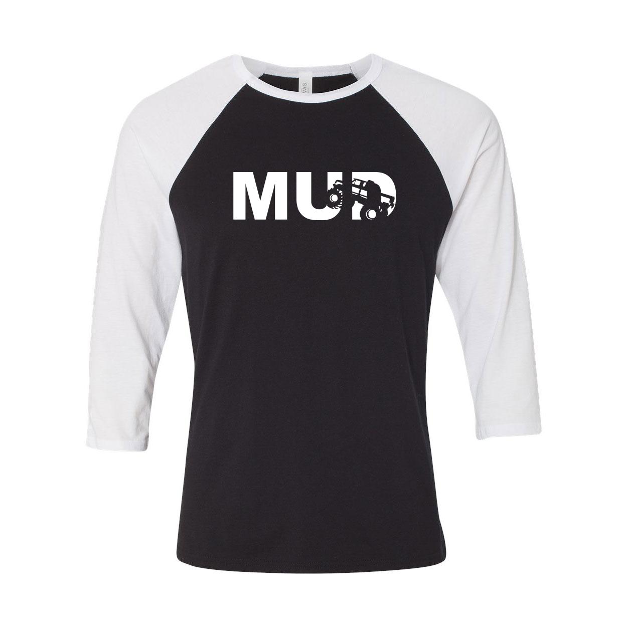 Mud Truck Logo Classic Raglan Shirt Black/White (White Logo)