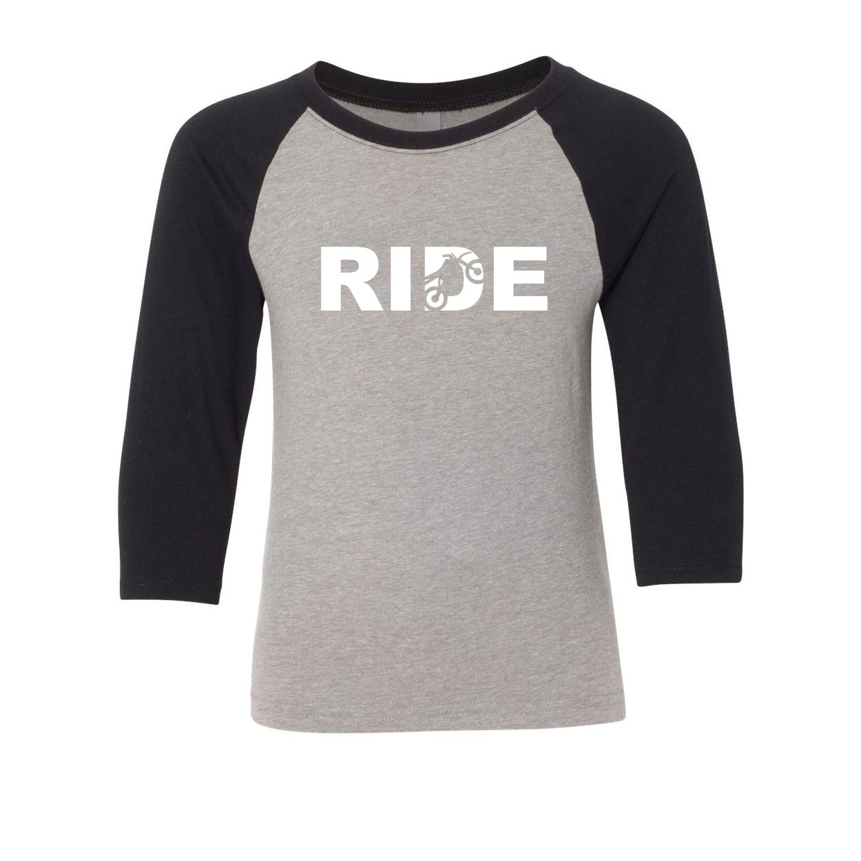Ride Moto Logo Classic Youth Premium Raglan Shirt Gray/Black (White Logo)