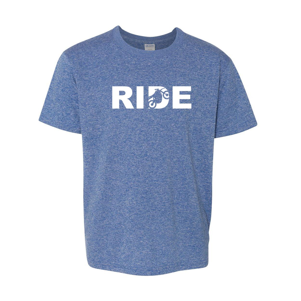 Ride Moto Logo Classic Youth T-Shirt Blue (White Logo)